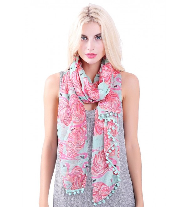 MissShorthair Flamingo Print Scarf with Tassels for Women - 1 Turquoise - CH12NRGC094