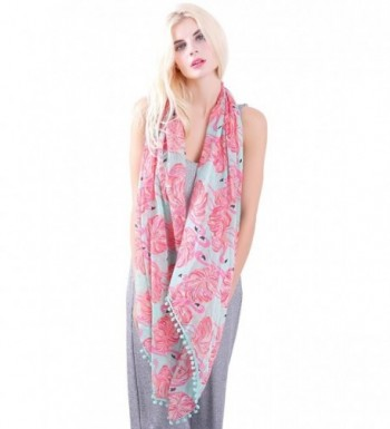 MissShorthair Flamingo Print Scarf Tassels