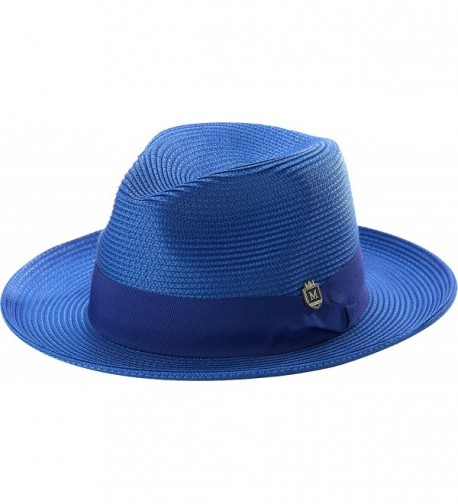 Montique Men's Wide Snap Brim Pinch Fedora - Royal - CC12LNNJEUV