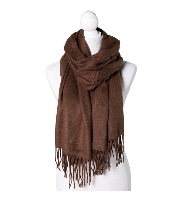 Cocoa Solid Color Fringe Women's Fashion Warm Winter Blanket Scarf Scarves Shawl - CT18777YO9Z