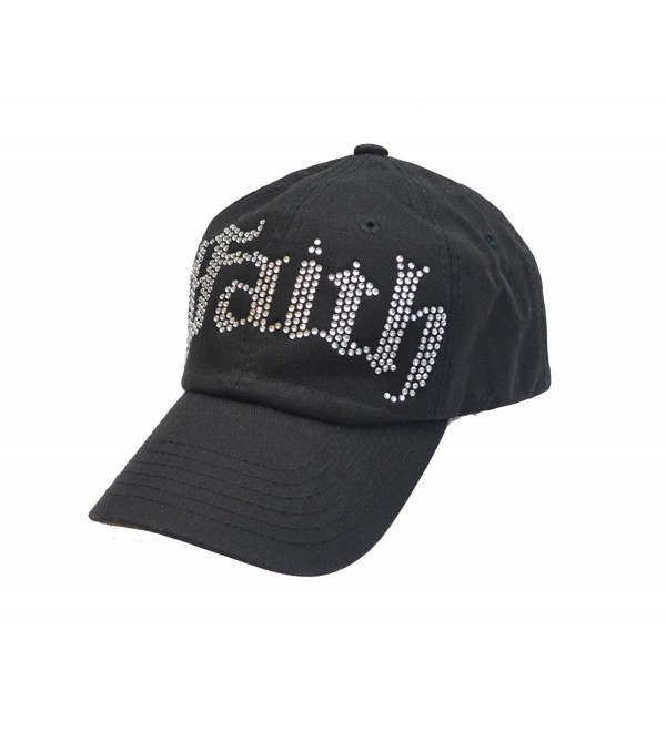 Faith Sparkling Crystal Rhinestone Trendy Baseball Hat - CI113DDUIH3