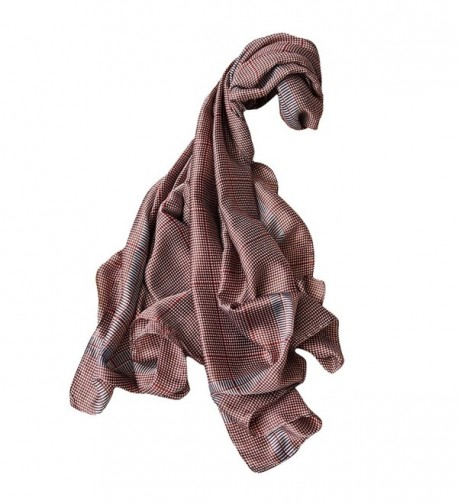 GERINLY Silk-Like Wrap Shawl Sexy Bikini Cover UPS Womens Travel Scarf - Red Brown - CM18C3YHL58
