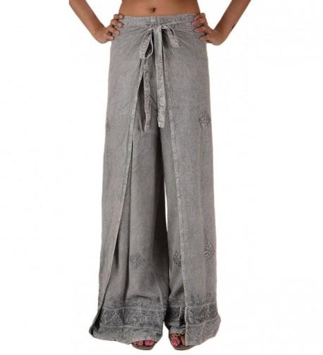 Skirts N Scarves Womens Embroidered Rayon Wrap / Palazzo Pant (Grey) - Grey - C111MNB79IR