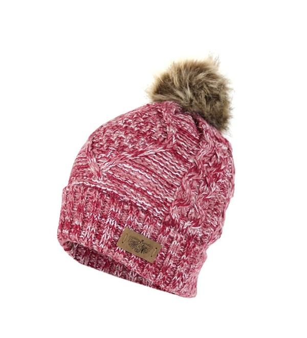 Cable Knit Beanie Stretch Winter - Marled Pink - CS1868033U3