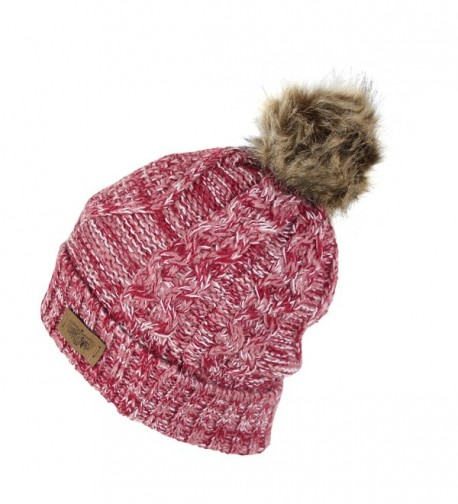 Cable Knit Beanie Stretch Winter in Women's Skullies & Beanies