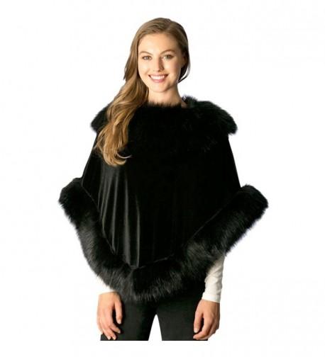 Black Velvet Poncho With Fur Trim - CZ188Y2DYUT