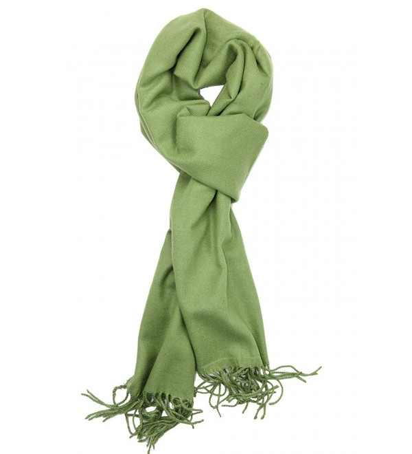 Achillea Soft & Warm Solid Color Cashmere Feel Winter Scarf Unisex - Moss Green - CY18760W7Q7