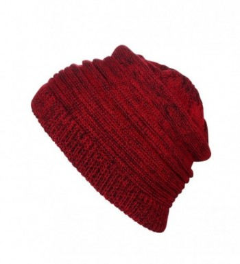Winter Beanie Skull Cap- Wool Warm Slouchy Beanie Hat- Winter Warm Knitting Hats - D-red - CC18957SYCX