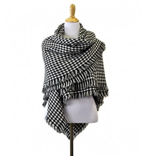 Le Nom Houndstooth Check Pattern Blanket Scarf - C412GXR7QKR