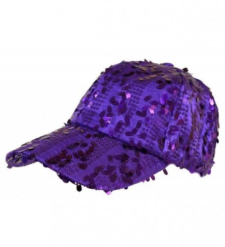 Purple Dangle Sequin Cap/ Red Hat Ladies - CX113ZDU2D1