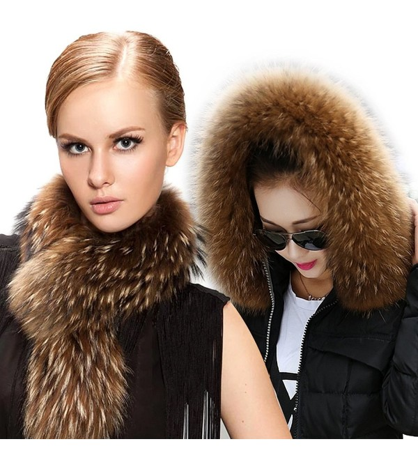 FURTALK Natural Raccoon Jacket Collar - Deep Raccoon Original Color - CF1257LD1YF
