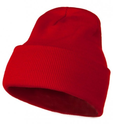 MG 12 Inch Long Knitted Beanie - Red - CQ110PMZBKT