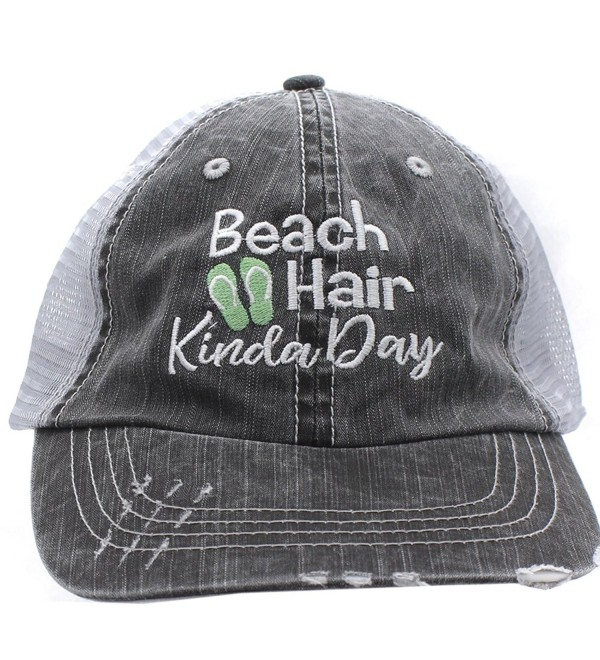 Sea Green Flip Flops Beach Hair Kinda Day Women Embroidered Trucker Style Cap Hat - C917AA42YSC