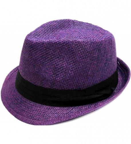 Hemantal Men/Women Classic Lightweight Straw Fedora Hat w/Band - Assorted Colors - Purple - CB180ELEU4D