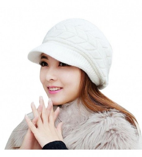 Womens Hat-Winter Knit Beanie Skullies Crochet Head Wrap Cap for Women - White-01 - CM1899LNNIY