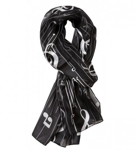 Plum Feathers Musical Notes Printed Satin Scarf - Black - CP11T6IRIB3