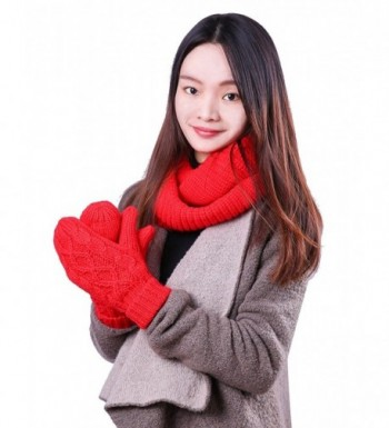 HDE Women's Knit Mittens and Infinity Scarf Set Solid Color Winter Accessories - Red - CR18882L095