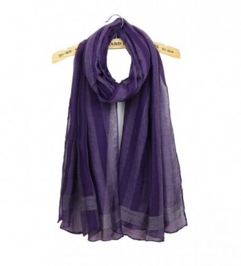Women Striped Solid Color Scarf Lightweight Wrap Shawls All Match Elegant Scarves - Purple - C61888KQZUO