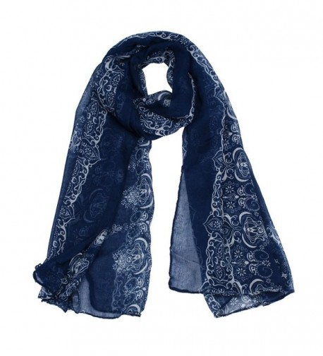 Sandistore Women Lady Classical Print Scarf Scarves Sun Protection Gauze Kerchief - Navy - CP1279M12OB