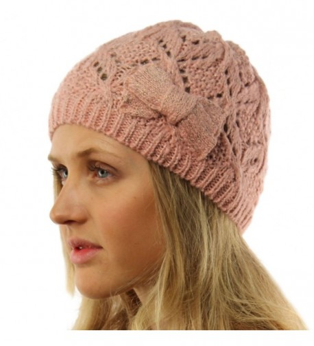Ladies Girls Teens Winter Shimmer Ribbon Bow Knit Beanie Skull Hat Cap Ski - Pink - CU11T2SESFV
