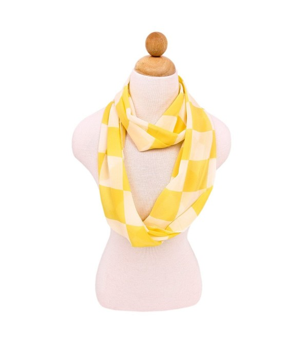 Sheer Chiffon Checked Plaid Infinity Loop Fashion Scarf - Different Colors Available - Yellow - CN11LOR210H