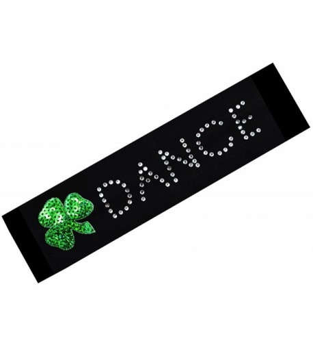 Funny Girl Designs IRISH DANCE Sequin Rhinestone Cotton Stretch Headband - CR11IAM8FIF
