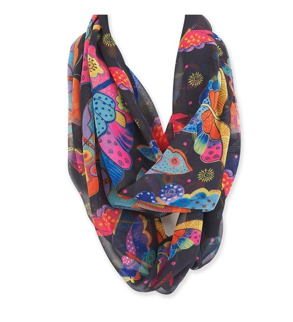 Laurel Burch Artistic Infinity Scarf Collection - Black - C7187DNCHHA