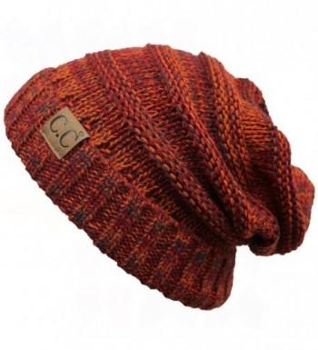 ScarvesMe C.C. Trendy Warm Oversized Chunky Soft Oversized Cable Knit Slouchy Beanie - Rust - C512KBATKP5