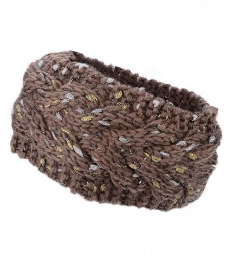 Flammi Women's Chunky Cable Knit Headband Head Wrap Ear Warmer - Khaki - CE12MSKPAHX