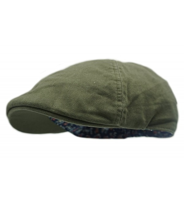Wonderful Fashion Men's Cotton Vibrant Colored newsboy Cap - Olive - C1189HHAMQ8