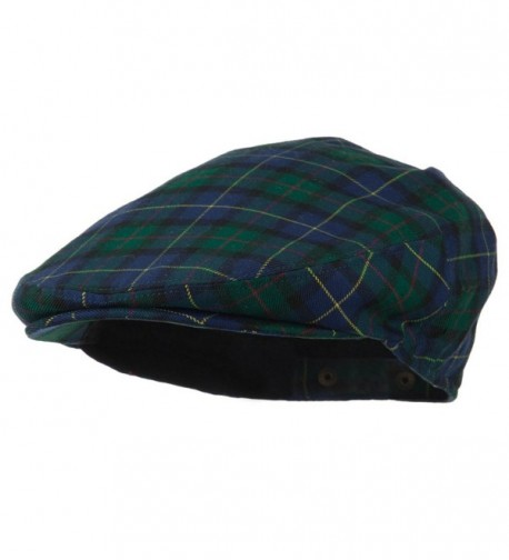 Men's Wool Blend Plaid Ivy Cap - Green - CW11NY3435P