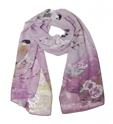 Wrapables Floral Bird Print Polyester and Silk Oblong Scarf - Wisteria - CF11JQYIH4J