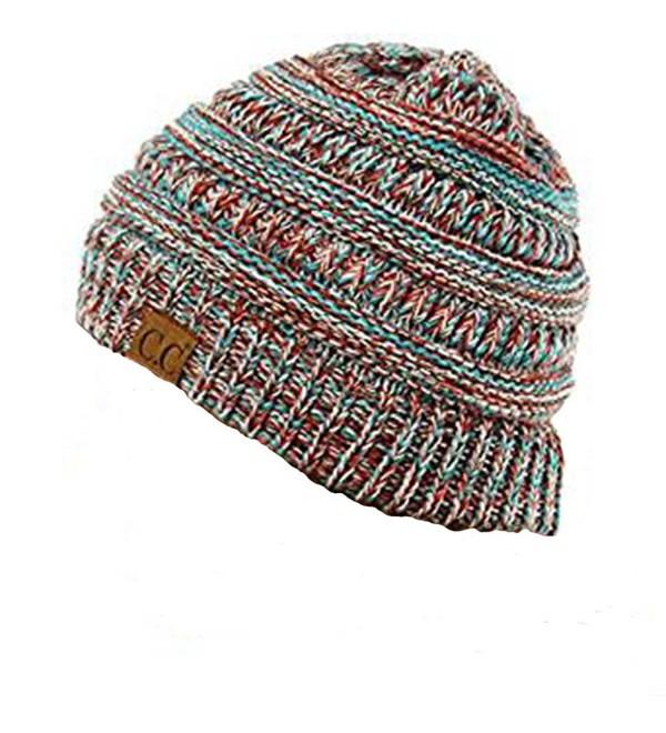 CC Womens Multicolor Warm Slouchy Cable Knit Beanie Skull Cap - Burgundy - CY12MY56UTK