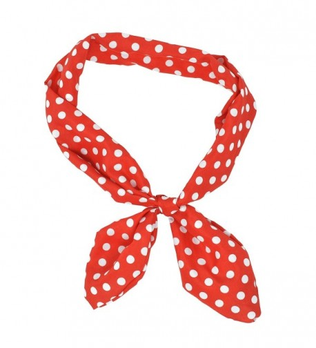 Lux Accessories Red White Polka Dot Tie Headband Head Band - C911V2MAYON