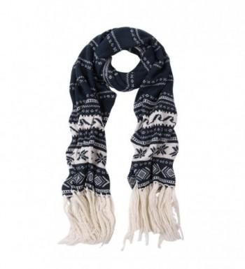 Premium Long Dual Tone Fair Isle Knit Warm Winter Fringe Scarf - Diff Colors - Navy - C9127YA7NGN