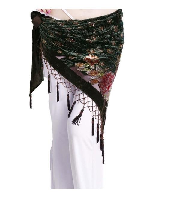 ZLTdream Women's Belly Dance Trangular Hip Scarf Grade Velvet - Coffee - CG11KPCWJGN
