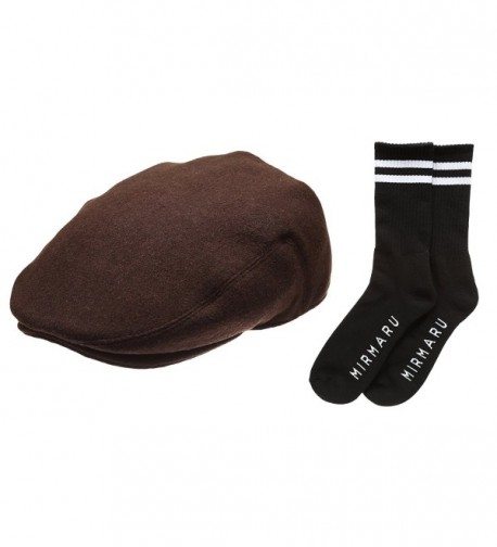 Newhattan Men's Premium Wool Blend Classic IVY Hat With Socks. - Darkbrown - CV12I5DZABX