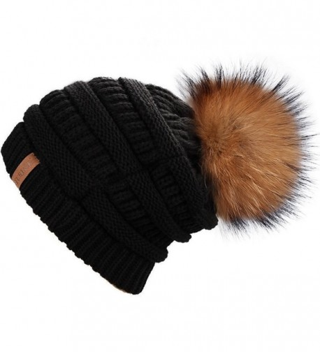 FURTALK Winter Fur Pom Hat - Black Raccoon - CE12MX53C1J