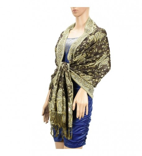 "USBingoshop Women Elegant Cashew Soft Woven Silk Pashmina Shawl Wrap Scarf 80"" x 27"" - 12-brown - CS182GLCWK7"