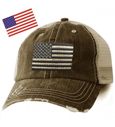 American Flag Distressed Cap - Free Flag Decal - Black - CP17Z50CZRT