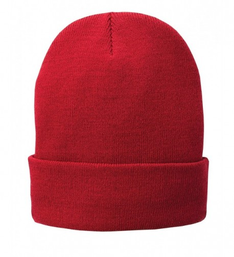 a07af2c81fbbe9 Adult Fall Winter Warm Fleece Lined Pull-On Acrylic Knit Beanie Hat Cap Red  CI12N33H47T
