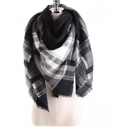 Women's Winter Stylish Warm Blanket Scarf Plaid Wrap Shawl - Black White8 - CU186LO3ZK2
