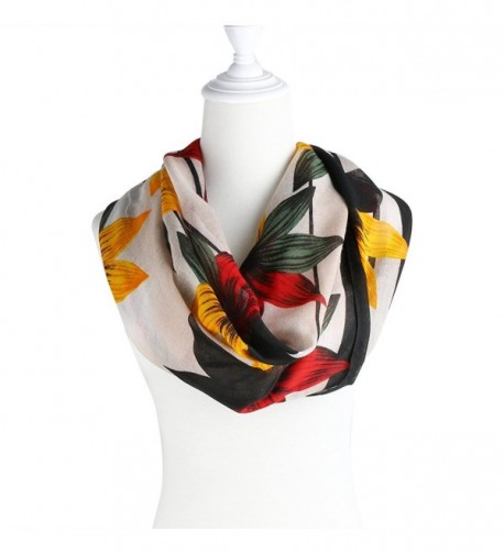 TBMax Soft Multicolor Infinity Scarf For Women and Men-Gorgeous Wrap Shawl - Floral-white - C712O2W7I7K