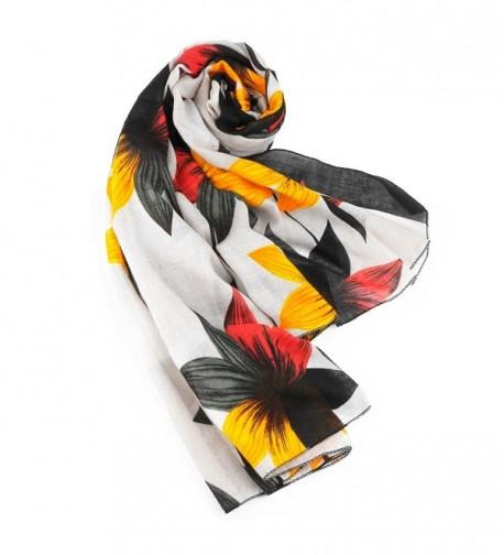 Lightweight Elegant Luxurious Flower Floral White in Fashion Scarves