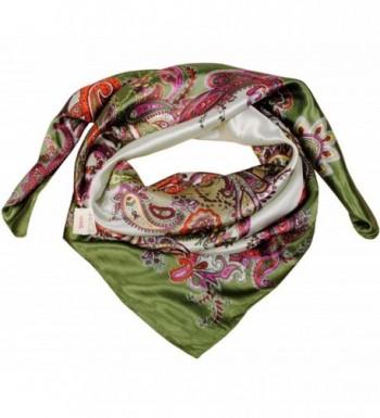 MEYKISS Women's Floral Print Silk Kerchief Square Bandana Scarf - Army Green - C611ANK33RP
