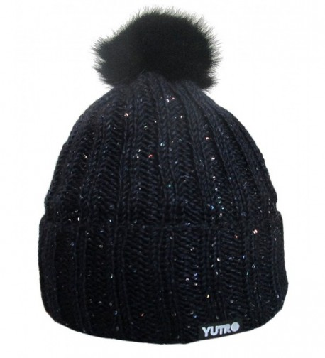 Yutro Fashion Sequined Beaded Wool Winter Hat with Rabbit Pom - Dark Navy Blue - CP11OVS50OF