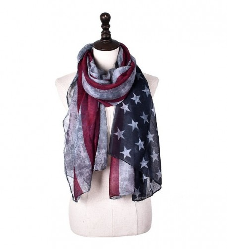 Promini Women's Fashion Long Lightweight Scarf Retro American Flag Printed Shawl Wrap - Gray - CA184K0LZZG
