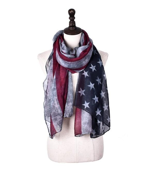 Promini Women's Fashion Long Lightweight Scarf Retro American Flag Printed Shawl Wrap - Gray - CA184K0LZZG