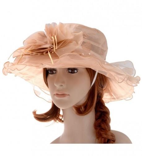 VBIGER Women's Kentucky Derby Hat Large Brim Chiffon Lace Flounce Sun Hats - Khaki - C611X42UPGR