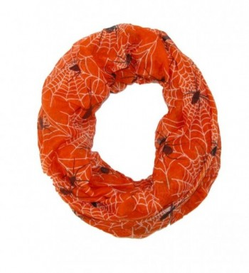 David & Young Women's Spider Web Halloween Holiday Infinity Loop Scarf - Orange - CL126OJ1Y8T